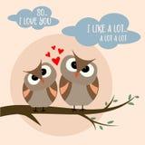 Roligt valentin dagkort med fågelpar stock illustrationer