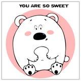 Roligt vektorhälsningkort med den gulliga feta tecknad filmbjörnen och uttryck : enkelt royaltyfri illustrationer