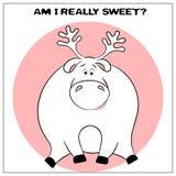 Roligt vektorhälsningkort med gulliga feta tecknad filmhjortar och uttryck : enkelt stock illustrationer