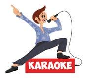 Roligt vektortecknad filmtecken som sjunger in i mikrofonen och att posera Maskot för karaokestången, parti, diskostång, nattklub vektor illustrationer