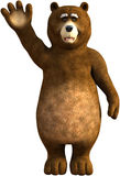 Roligt vinka för tecknad filmbjörn som isoleras Arkivbilder