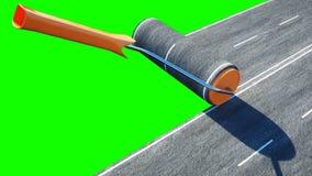 Rolka asfalt Muśnięcie droga niebieski blisko drzwi windy pejzaż towarowy namalował pracownika Zielony ekran odizolowywa świadcze zdjęcia royalty free