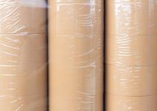 Rolka brown adhezyjna taśma w plastikowym opakunku Obrazy Royalty Free