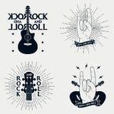 Rolka druki dla koszulki Set graficzny projekt dla odziewa, koszulka, odzież z gitarą, błyskawica, faborek, sunburst royalty ilustracja