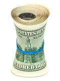 Rolka zawijająca gumą na białym tle dolar amerykański Fotografia Stock