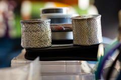 Rolki łańcuch dla biżuterii brogującej niebezpiecznie na workbench obraz stock