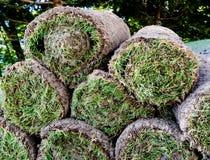 Rolki świeży darniują trawy dla kształtować teren nowego gazon obrazy royalty free