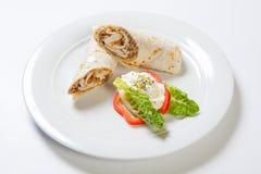 Rolki od pita chleba faszerującego z kurczak cebulą i pieczarką Obrazy Royalty Free