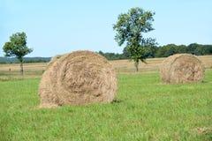 Rolki siano kłamają na zielonej łące Lato Obraz Stock