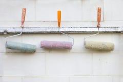 Rolkowy muśnięcia trzy kolor. Zdjęcie Royalty Free