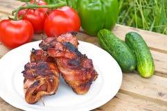 Rollè della pancetta affumicata con il fegato di pollo Immagine Stock Libera da Diritti
