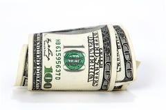 Roll of $100 bills. Roll of American cash - currency, dollar bills Stock Image