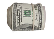Roll of 100 dollar bills. A large roll of 100 dollar bills held together by a rubber band Stock Photo