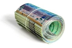 Roll of 10000 tenge Royalty Free Stock Image