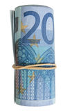 A roll of 20 Euro notes. A roll of 20 Euro notes with an elastic band wrapped around royalty free stock photography