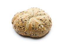 Roll. Fresh wholemeal roll isolated on white background Royalty Free Stock Photography