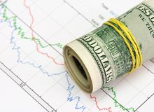 Roll 3. Roll of money on the stock-market chart Stock Images