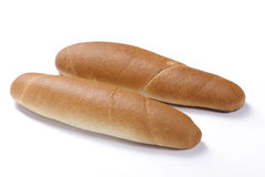 Roll. Isolated two white roll of bread royalty free stock photos