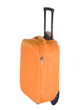 Roll-aboard suitcase. Orange roll-aboard suitcase on white background Stock Photo
