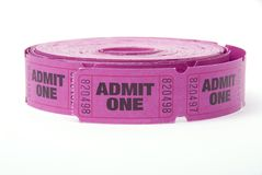 Roll of admit one ticket. A roll of admit one tickets on a white background Stock Photos