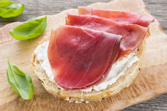 Roll with air dried Bresaola ham Stock Images