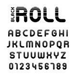 Roll alphabet and numbers with stripes Royalty Free Stock Images