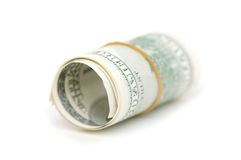 Roll of american dollars. Isolated on white royalty free stock photography