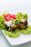 Roll of Appetizer of eggplant Stock Photo