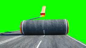 A roll of asphalt. Brush of road. Transport concept. Green screen isolate. 3d rendering. stock photo