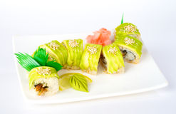 Roll with avocado and eel Stock Images
