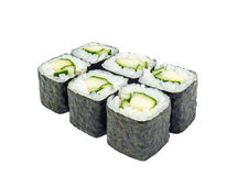 Roll with avocado green. Black seaweed Studio isolation Stock Photos