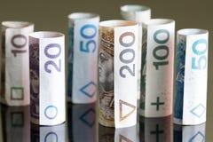 Roll of banknotes polish money Stock Photo