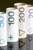 Roll of banknotes polish money Stock Photography