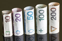 Roll of banknotes polish money Stock Image