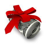 Roll of banknotes. Tied with red ribbon Royalty Free Stock Photography
