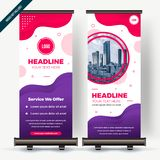 Roll Banner Up Flat Style Colorful Design. Roll Banner Up Flat Design Colorful royalty free illustration