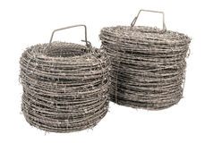 A roll of barbed wire. Stock Photos