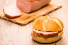 Roll with beef and pork loaf Stock Photo