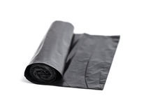Roll of black trash bags Stock Image
