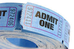 Roll of blue admit one tickets isolated on white background, close up Stock Images