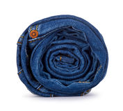 Roll of blue jeans Royalty Free Stock Photos