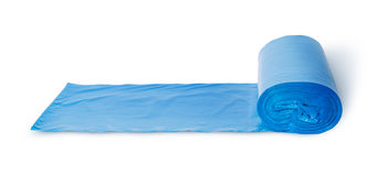 Roll of blue plastic garbage bags in front view Royalty Free Stock Images