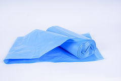 Roll of blue trash bags Stock Photos
