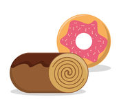 Roll bread donut dessert food design Royalty Free Stock Photo