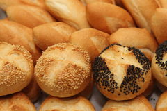 Roll bread with sesame and poppy seeds in a restaurant. Stock Photography