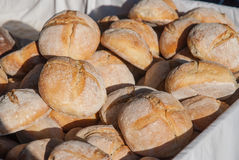 Roll breads in basket Stock Photo
