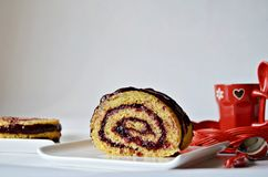Roll cake with berries Royalty Free Stock Photography