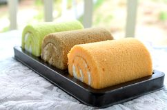 Roll cake with cream Royalty Free Stock Image