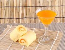 Roll cake orange Stock Images