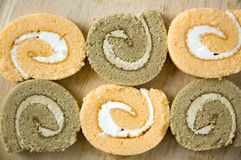 Roll cakes background Royalty Free Stock Images